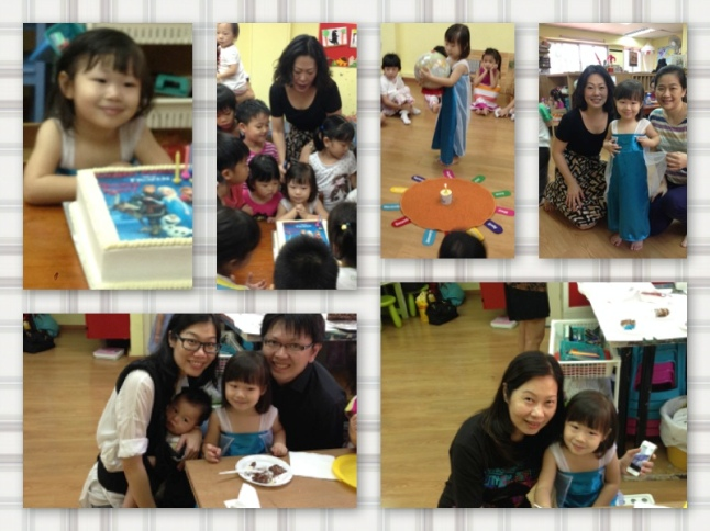 Compilation of photos from K's birthday party in school