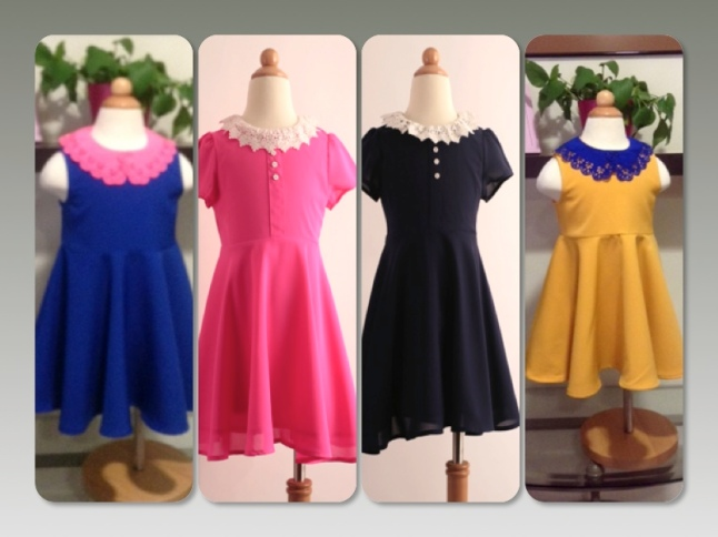 skaterskirt dresses in bright blue, navy blue, bright pink and mustard